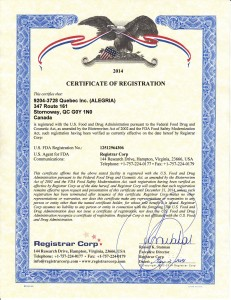 Certificate of registration Alegria