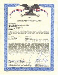 Certificat d'enregistrement Alegria
