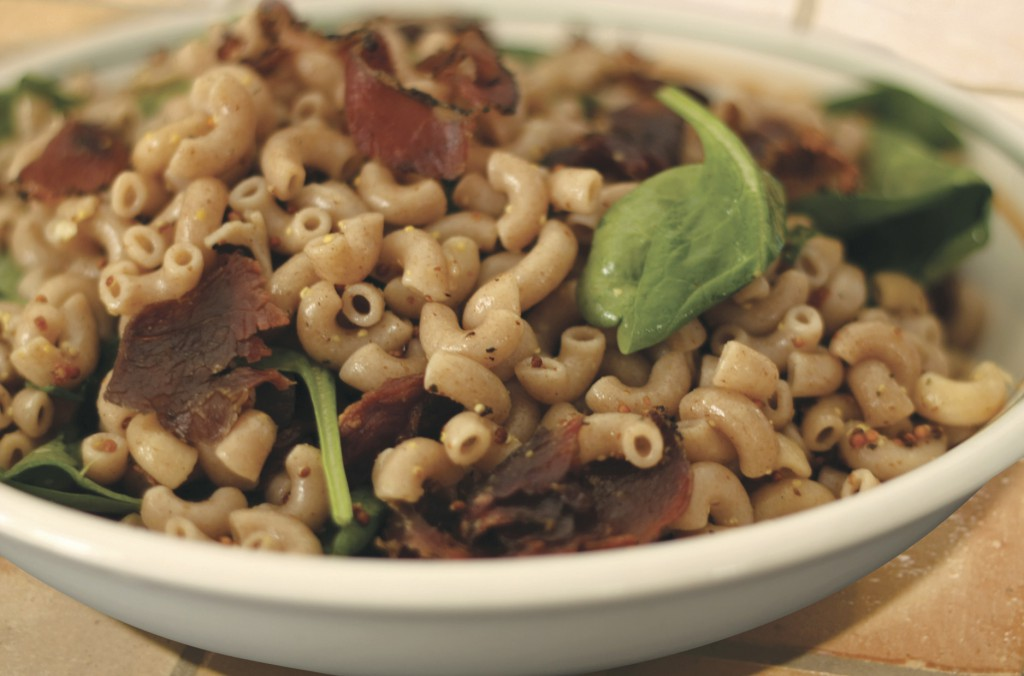 Tender Young Goat Meat Pasta Salad
