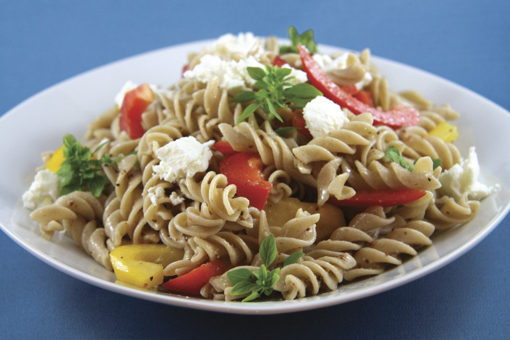 Grilled Pepper Fusilli Salad and Goat Cheese